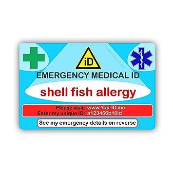 Marisco alergia médica de emergencia ID cartera ID de tarjeta de ...