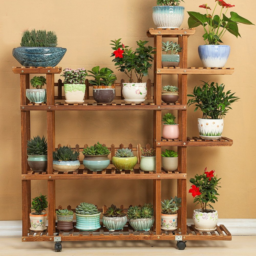 Flower Racks Flower stand Plant stand Plant flower pot rack Display shelf Shelf holds Wood plant stand Solid wood Multi-Storey Balcony Living room-B by DECORATION