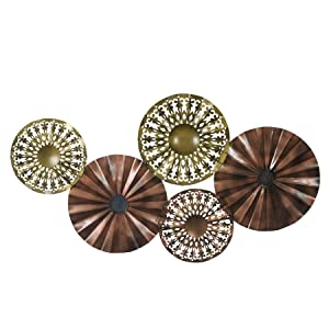 Collectible India Metal Floral Disc Wall Mounted Hanging Art Sculpture Modern 3D Arts Home Office Decor(Size: 39 x 23 Inches)