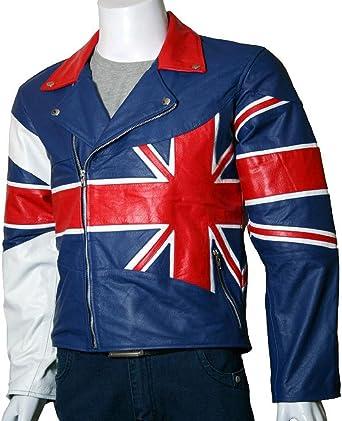 By AZ Brando Unión bandera de Reino Unido chaqueta de piel de primera calidad de piel disponible en todas las tamaño de la Azul azul XXX-Small: Amazon.es: Ropa y accesorios