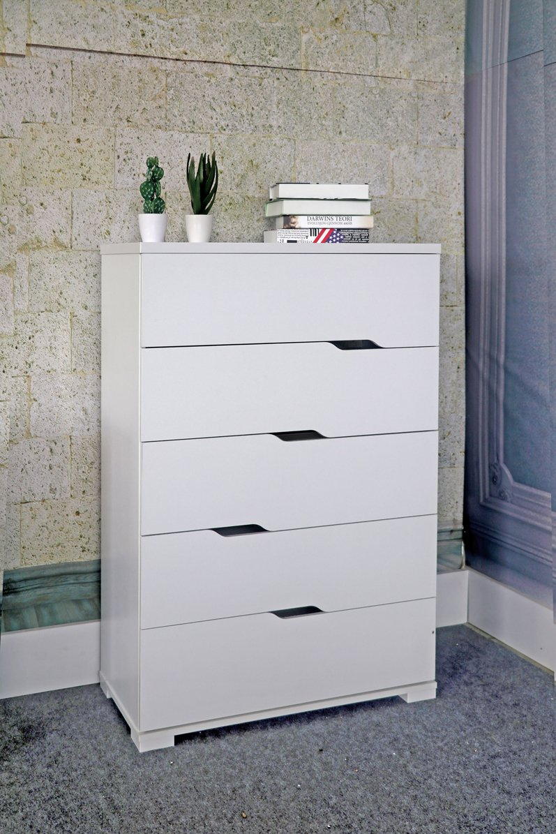 SMART HOME K16013 Mid Century Modern 5 Drawer Chest Dresser, White Color, Dresser for Bedroom - Stylish and multi-functional 5-drawer dresser Five drawers with diagonal cut out handle Material: Sustainable high-grade engineered wood finished in wood-veneer for easy to clean and assemble with all included hardware and instructions provided for assembly - dressers-bedroom-furniture, bedroom-furniture, bedroom - 71zw6Hg9rRL -