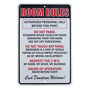TG LLC Room Rules Hours of Operation Metal Sign Funny Kids Bedroom Man Cave Decor