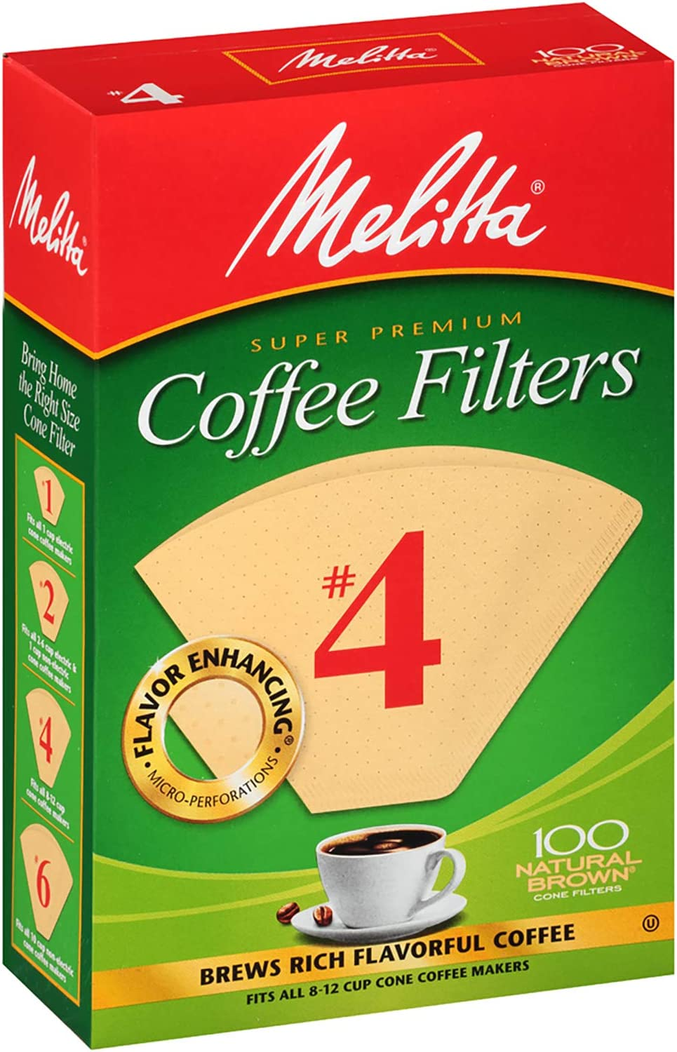 Melitta #4 Super Premium Cone Coffee Filters, Natural Brown, 100 Count (Pack of 6) 71zw6lmfRzL