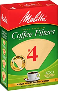 Melitta #4 Super Premium Cone Coffee Filters, Natural Brown, 100 Count (Pack of 6)