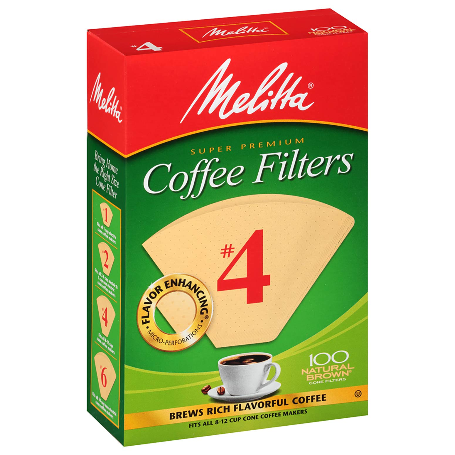 Melitta Number 4 Coffee Filters, Natural Brown, 100 Count (Pack of 6) by Melitta