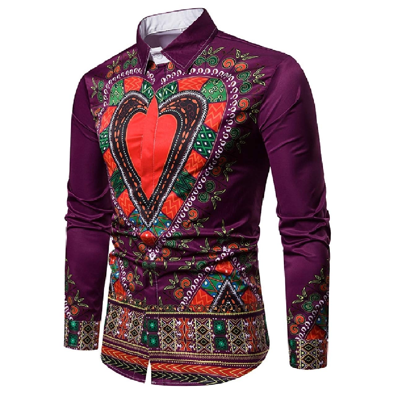 Yusky Mens Fall Winter African Printed Slim Ethnic Style Western Shirt
