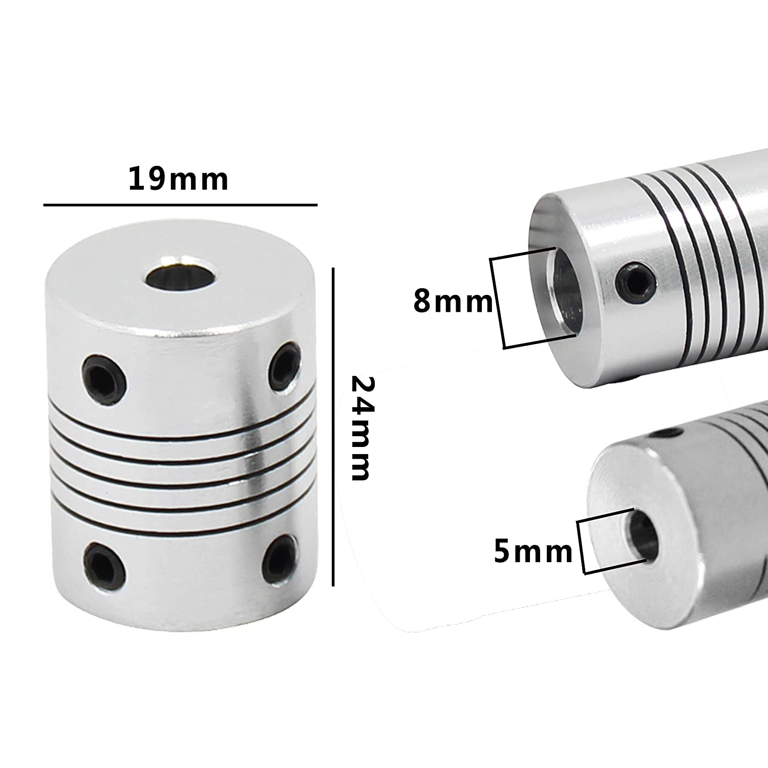 10219 HIC Technology 3DP AMZN Pack of 2 HICTOP Flexible Couplings 5mm to 8mm NEMA 17 Shaft Coupler for Creality Ender 3//3Pro CR-10//10S RepRap 3D Printer Prusa i3 or CNC Machine