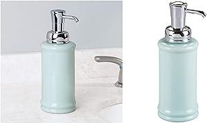 InterDesign Hamilton Glass Soap & Lotion Dispenser Pump for Kitchen or Bathroom Countertops, Mint/Chrome