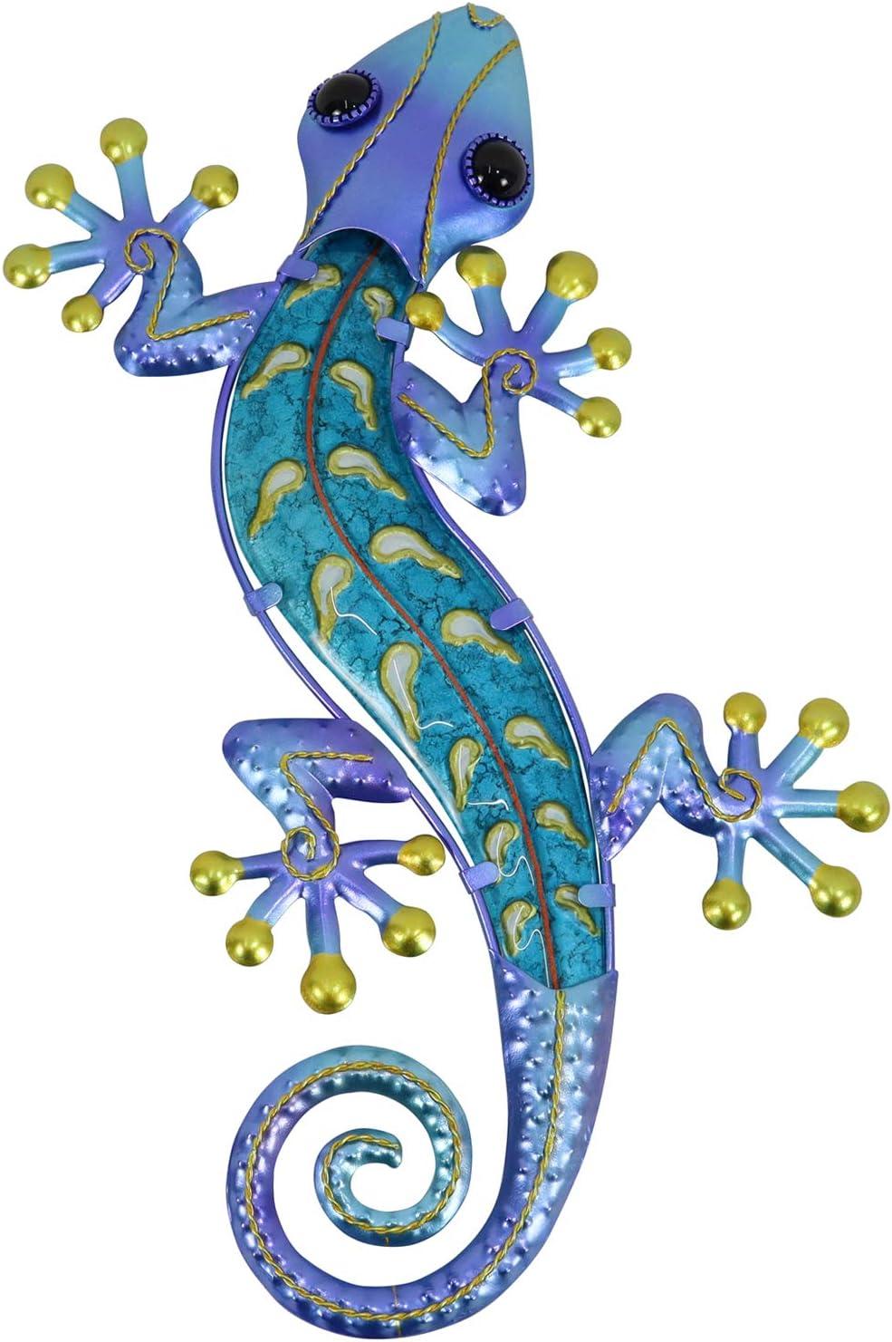 HONGLAND Metal Gecko Wall Decor Outdoor Indoor Lizard Art Sculpture Glass Decorations for Home (Blue-2)