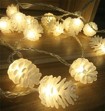 Weihnachtsbeleuchtung Tannenzapfen.Ergeob Tannenzapfen Weihnachtsbeleuchtung Lichterkette Aus Transparente Kunststoff 40led 5m Mit Eu Stormstecker
