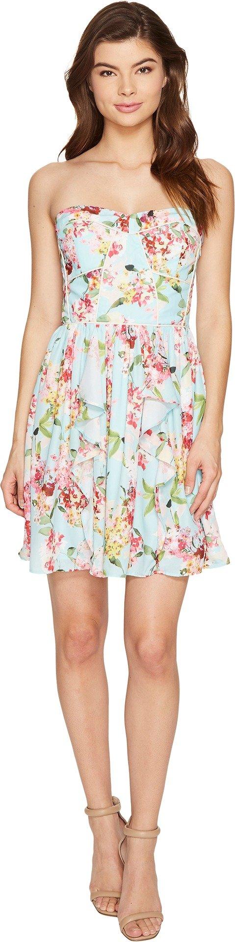 Adelyn Rae Women's Valerie Woven Printed Strapless Dress Aquamarine Dress