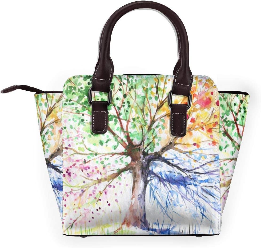 GHUJAOOHIJIO Womens Four Seasons Spring Tree Rivet PU Leather Tote Bag Shoulder Bag Purse