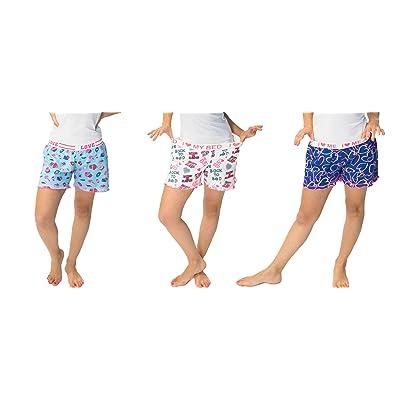 3 Pack of Women's Sleepwear Pajama Short (Small, Blue White Purple) at Amazon Women's Clothing store