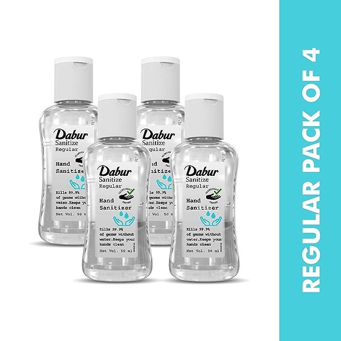 [Pantry] Dabur Sanitize Hand Sanitizer | 60% Alcohol Based Sanitizer (Regular) - 50 ml each (Pack of 4)