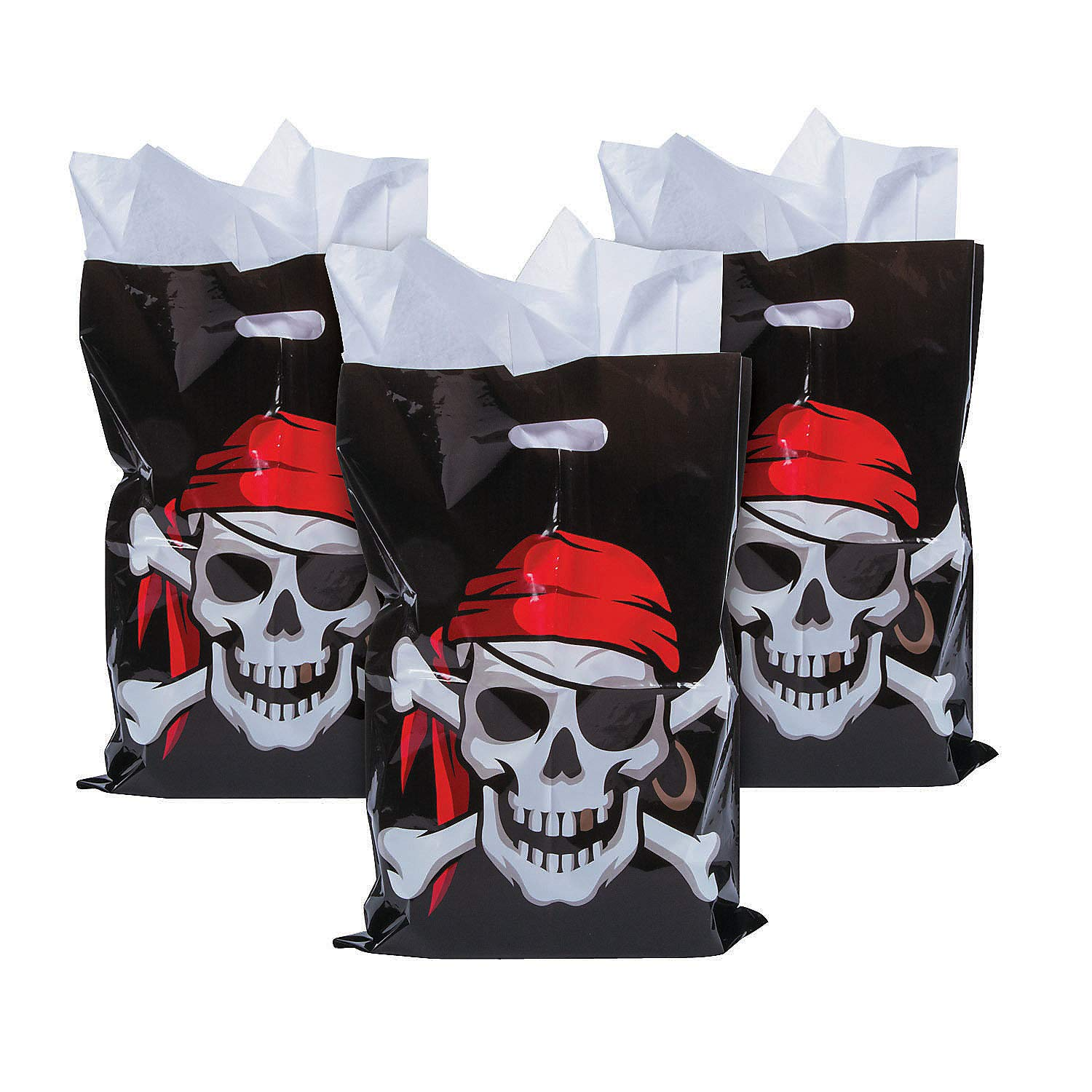 Fun Express 100 Count Large Plastic Pirate Loot Bags