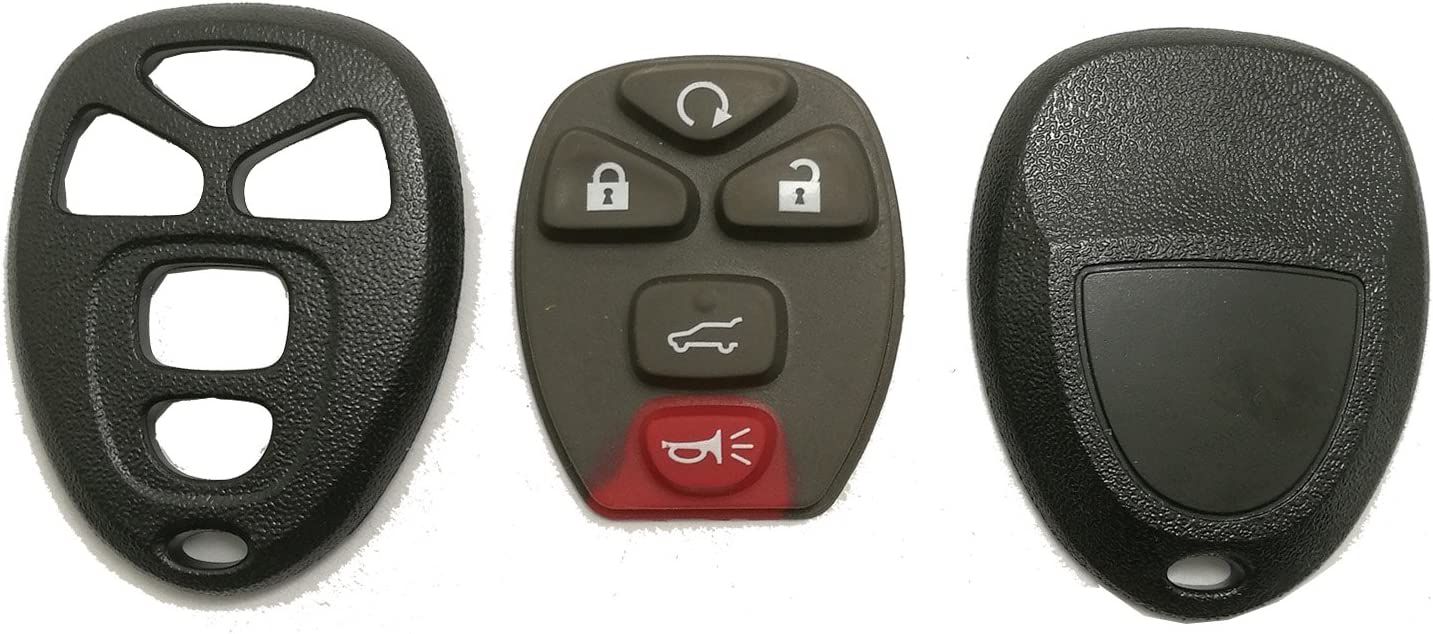 Replacement Key Fob Case Shell Fit for Chevy Suburban Tahoe Traverse//GMC Acadia Yukon//Cadillac Escalade SRX//Buick Enclave//Saturn Outlook 2007 2008 2009 2010 Keyless Entry Remote Car Key Cover Casing
