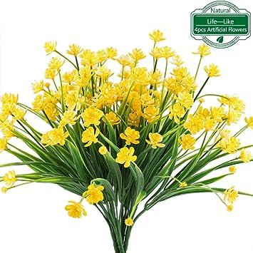 mihounion jonquille artificielle faux 4 pcs fleur en plastique jaune verdure arbustes plantes buissons en - Fleur Jonquille
