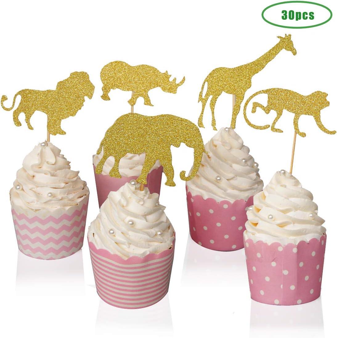 Elephant Giraffe Rhino Lion And Monkey 5 Styles Gold Glitter Jungle Safari Animal Cupcake Toppers Cake Picks Holders Set Of 30 For Baby Showers Birthday Party Cupcake Cake Decorations