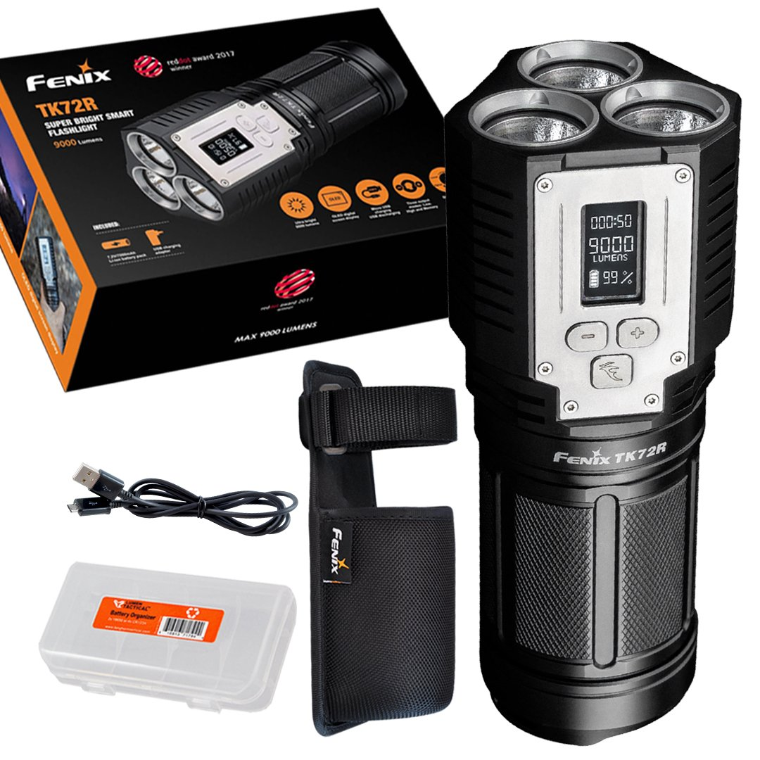 Fenix TK72R 9000 Lumen 3x CREE XHP70 LED Digital OLED Display Rechargeable Searchlight Flashlight - Doubles as Powerbank - Includes Lumen Tactical Organizer