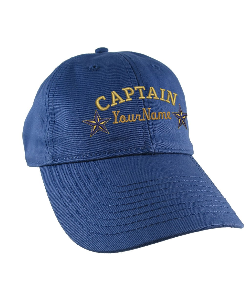 Custom Personalized Captain Stars Name Embroidery on an Adjustable Unstructured Indigo Blue Baseball Cap Dad Hat + Option