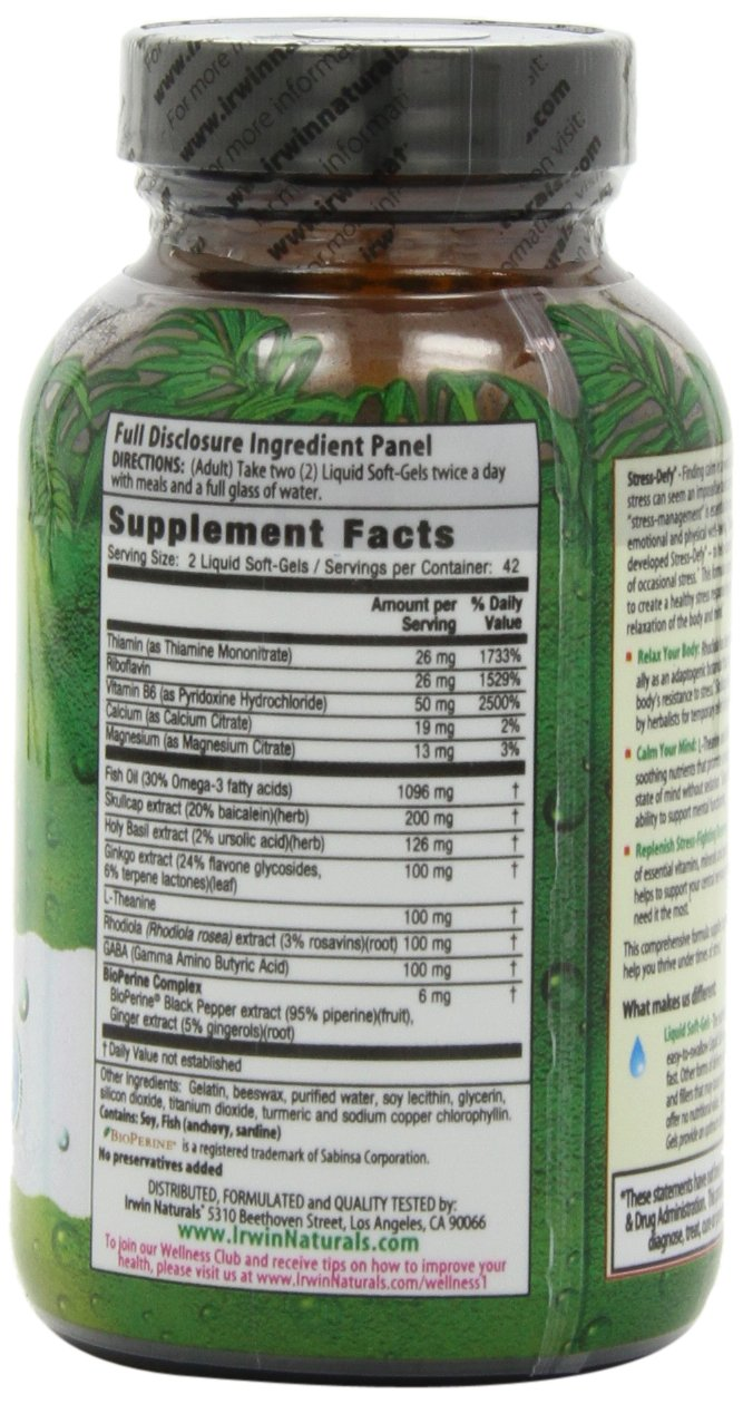 Irwin Naturals Stress-Defy, Balanced Relaxed Calm, Stressful Day Neutralizer, 84 Liquid Softgels by Irwin Naturals (Image #5)