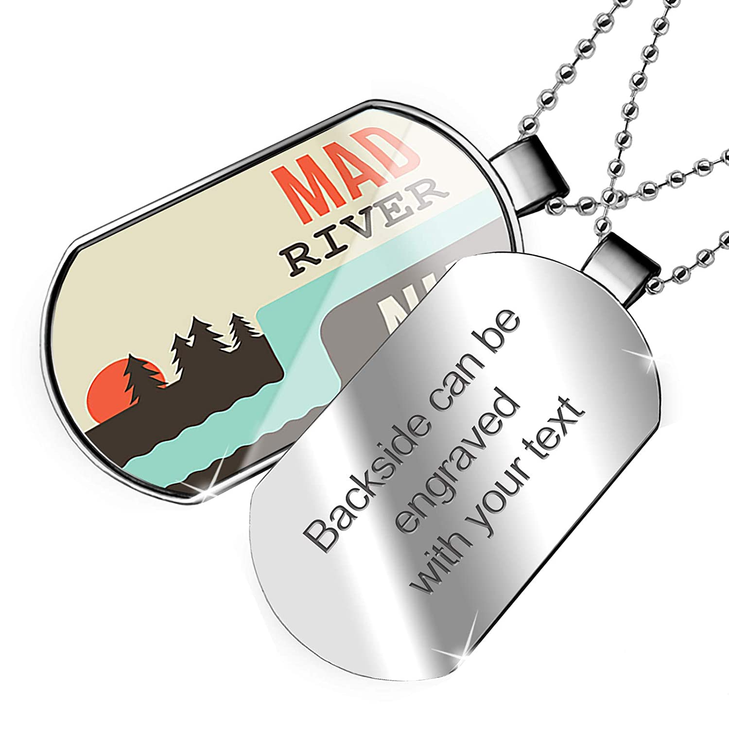 New Hampshire Dogtag Necklace NEONBLOND Personalized Name Engraved USA Rivers Mad River