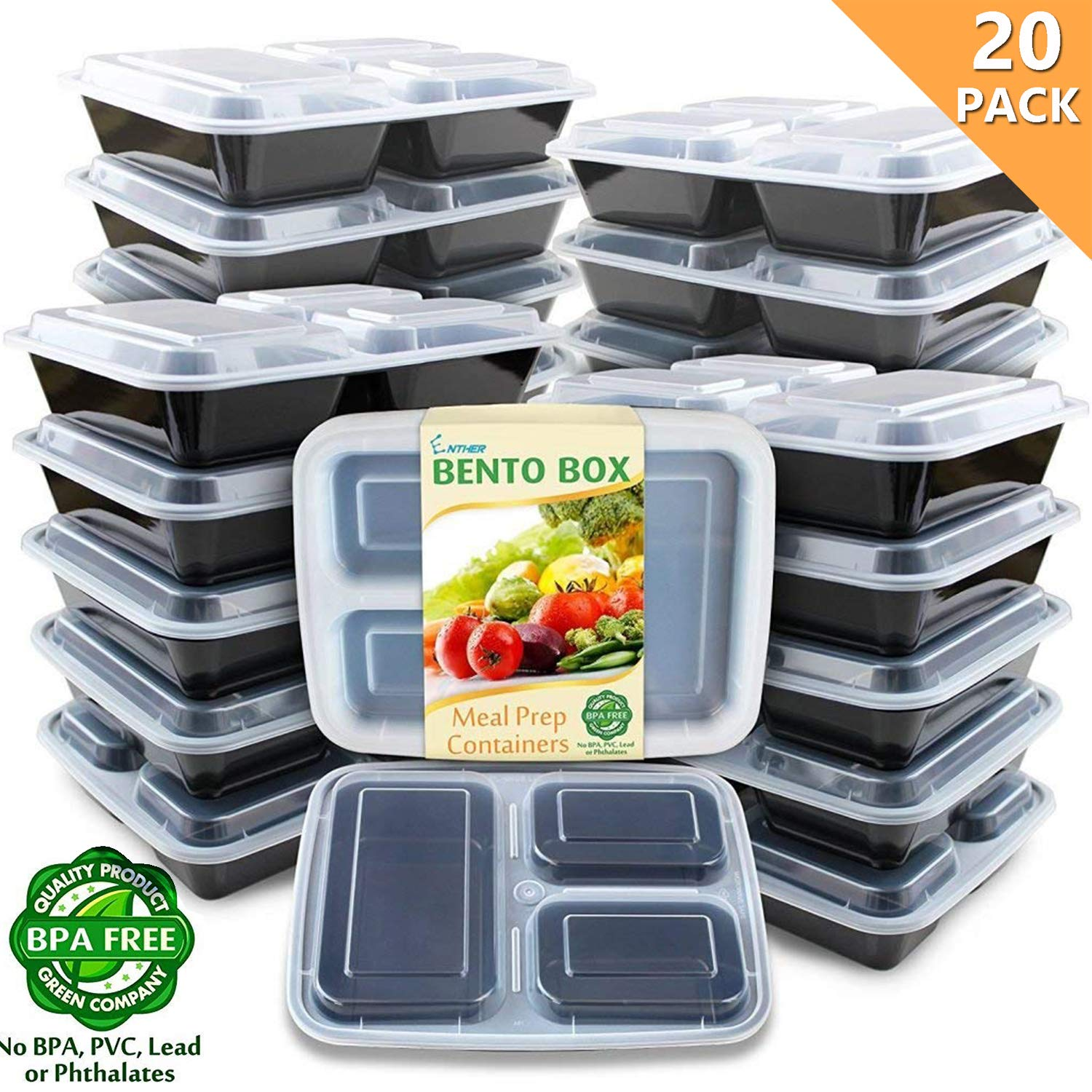 Enther Meal Prep Containers [20 Pack] 36oz 3 Compartment with Lids, Food Storage Bento Box BPA Free/Reusable/Stackable Lunch Planning, Microwave/Freezer/Dishwasher Safe, Portion Control by Enther