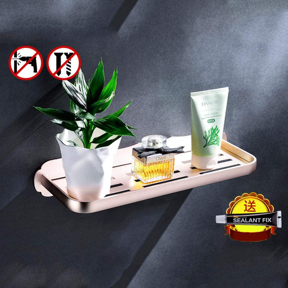 Bathroom supplies nail-free bathroom shelf bathroom storage rack,30CM single layer champagne gold