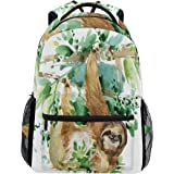 WXLIFE Tropical Animal Sloth Watercolor Backpack Travel School Shoulder Bag for Kids Boys Girls Women Men