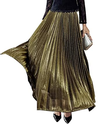 1a92cd6a1 Women's Ankle Length Metallic Luster Retro Pleated Maxi Long Skirt (Small,  Gold)