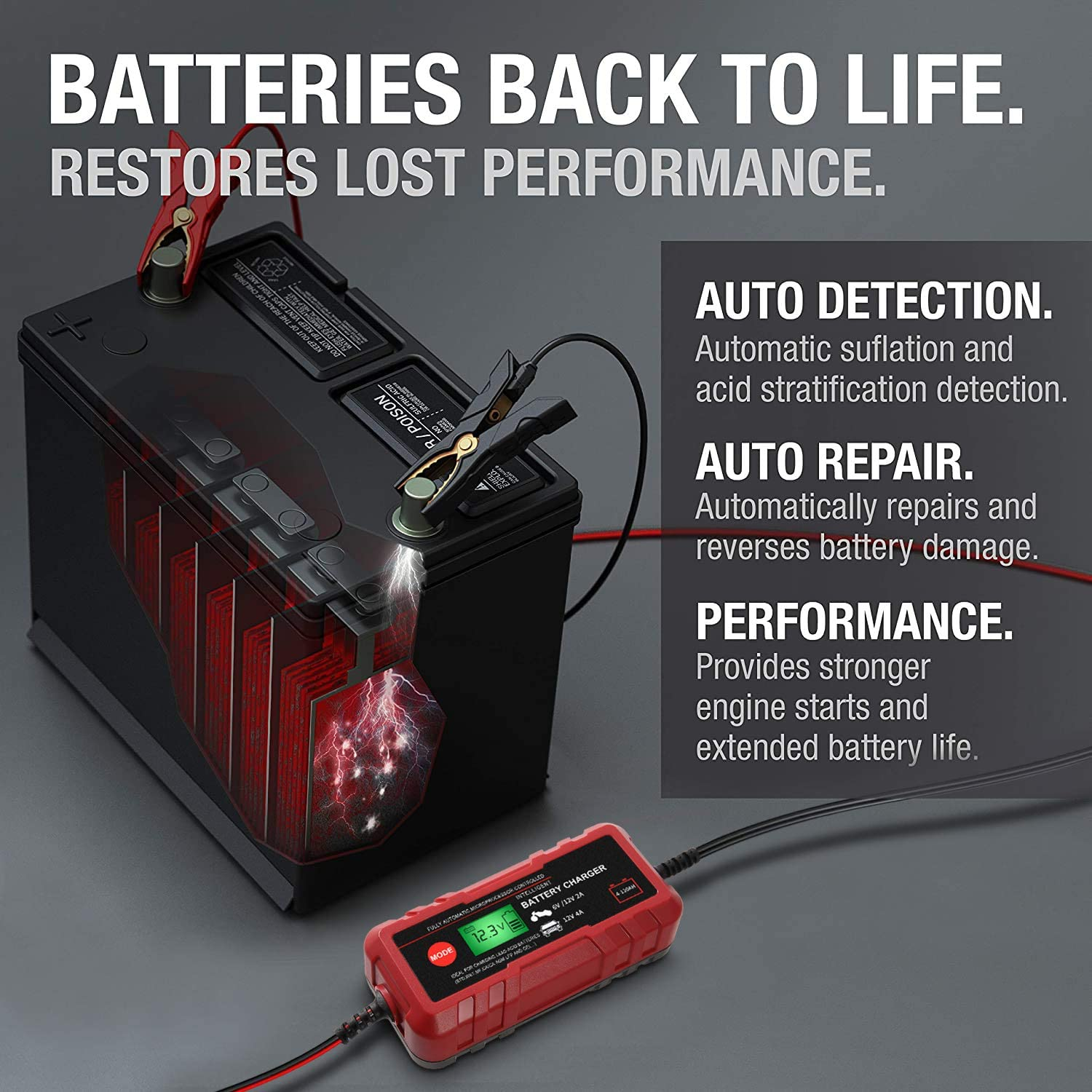 Rescue and Recover Batteries Smart Battery Charger Portable Battery Maintainer 8-Stages Trickle Charger Fast Charging for Car Boat Lawn Mower Marine Sealed 6V//12V Automotive Battery Charger