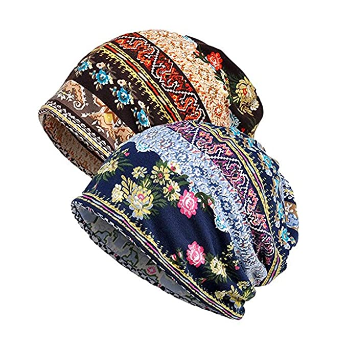 8ff7c39c9e5 Aedvoouer Women s Cotton Striped Baggy Beanie Lace Turban Soft Skull Cap  Chemo Printed Hats Slouchy Cancer