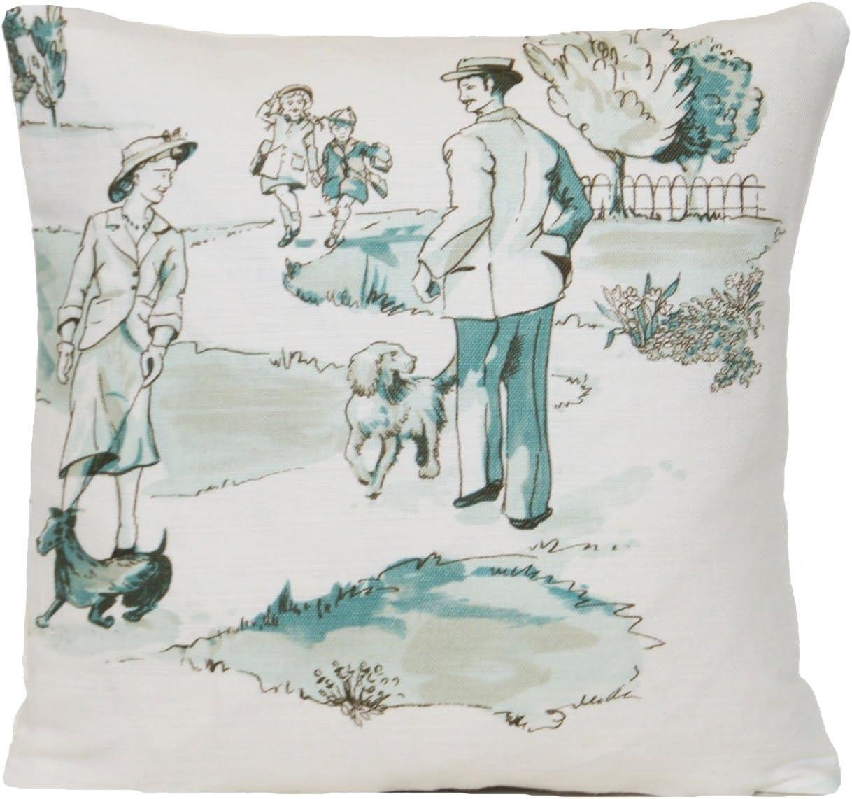Park Promenade Decor Pillow Throw Case Green Pattern Cushion Cover Nina Campbell Fabric Promenade Duck Egg Randevou