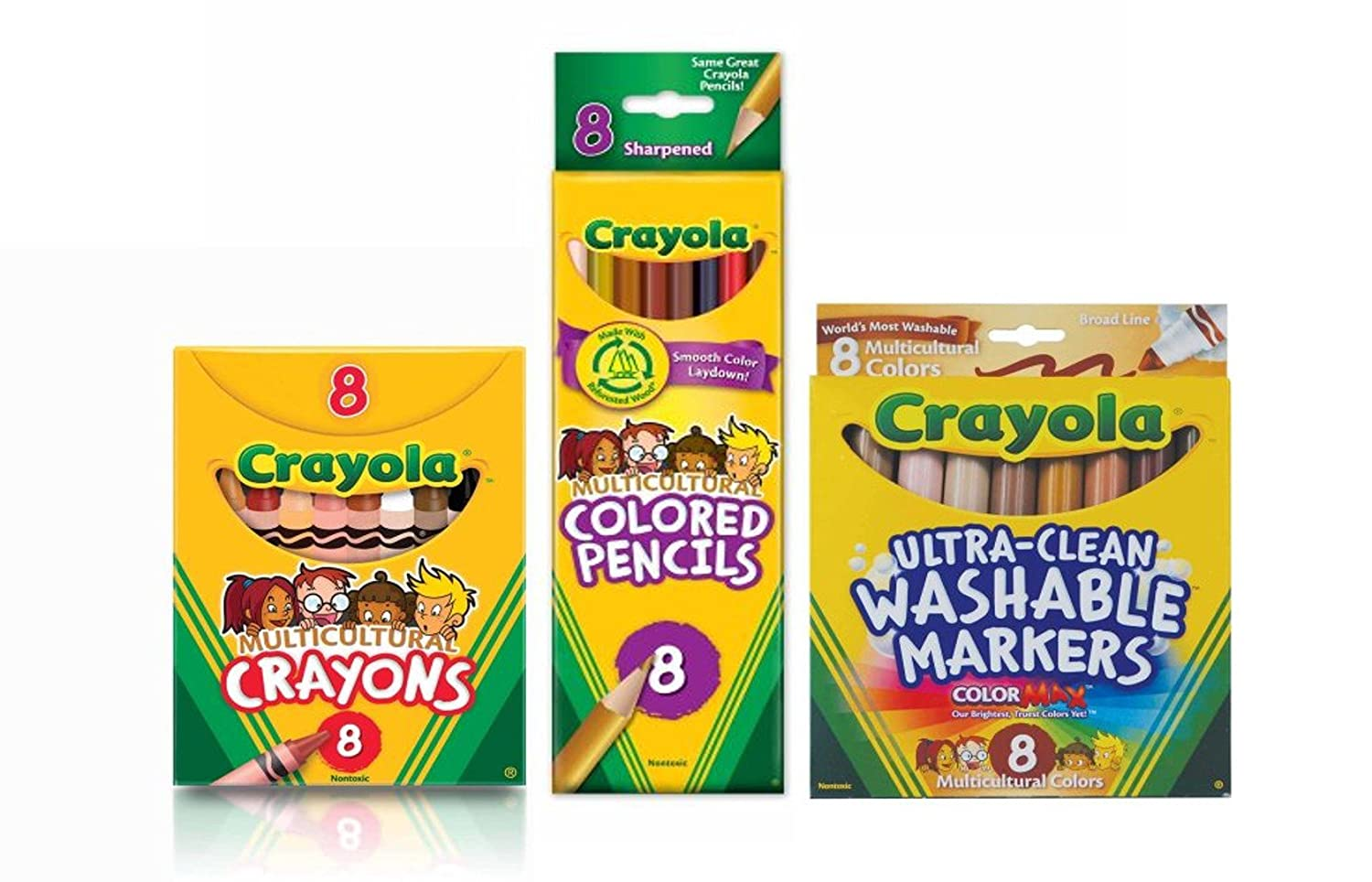 Multicultural Markers, Crayons and Pencils Bundle ASsorted