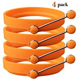 TaleeMall Nonstick Silicone Egg Ring Pancake Moulds, Round Egg Rings Mold (4 Pack) (Orange)