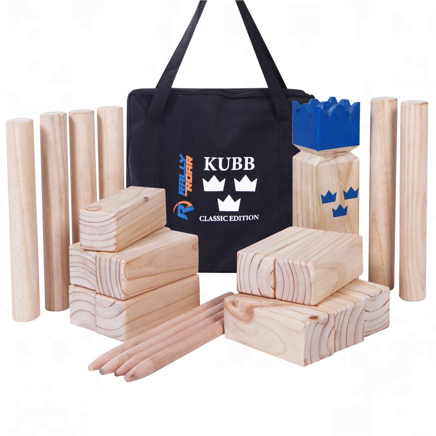 Kubb Yard Game Set by Rally and Roar for Adults, Families - Fun, Interactive Outdoor Family Games - Durable Blocks with Travel Bag - Games for Outside, Lawn, Backyards