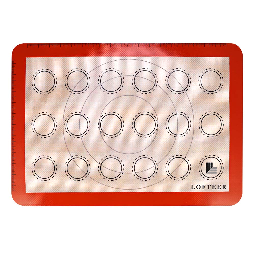 Non-Stick Silicone Baking Mat Cookie Half Sheet Size Macarons Large & Thick 16 1/2'' x 11 5/8'' by Lofteer