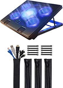 """Kootek Laptop Cooling Pad for 12""""-17"""" Laptop with Adjustable Mounts USB Ports and 4 Pack Cable Management Sleeves with Cable Ties"""