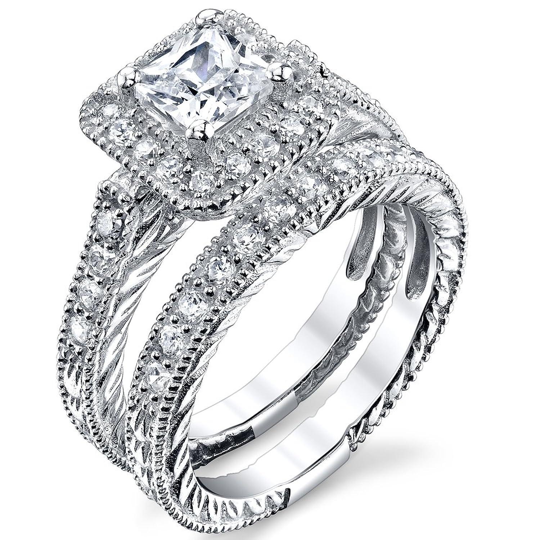 Princess Cut Designer inspired, Carved Sterling Silver Engagement Ring Wedding Band Bridal Set W/ Cubic Zirconia
