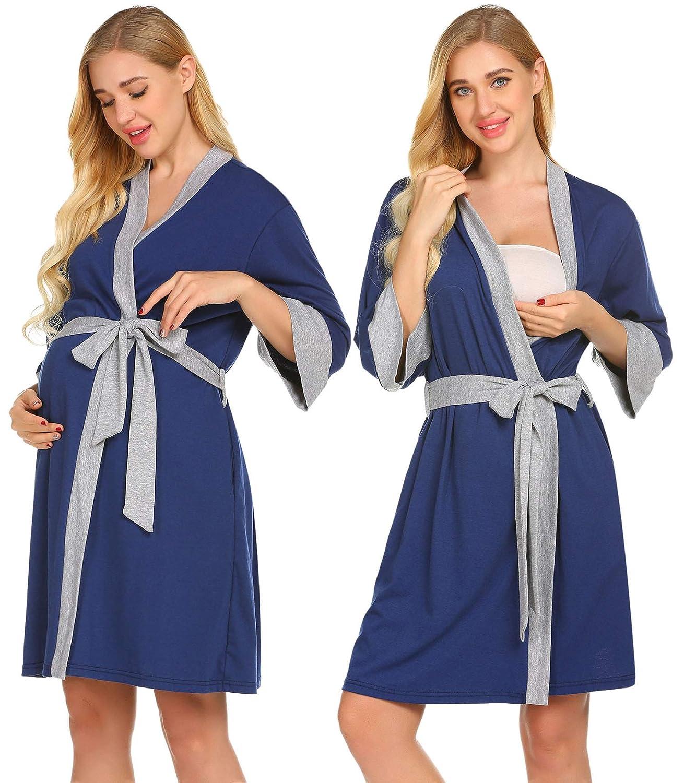 Ekouaer Maternity Robe Nursing Bathrobe 3/4 Sleeve Breastfeeding Delivery Gowns **EKV007167