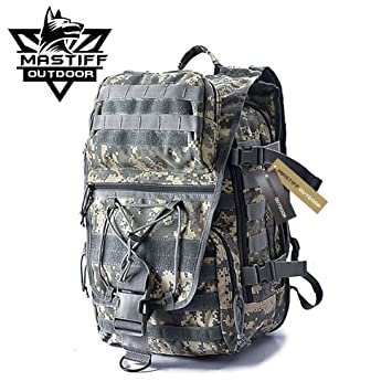bd0909f7a Mastiff Outdoor Tactical Venture Backpack Military MOLLE Camping Rucksack  (ACU Olive)