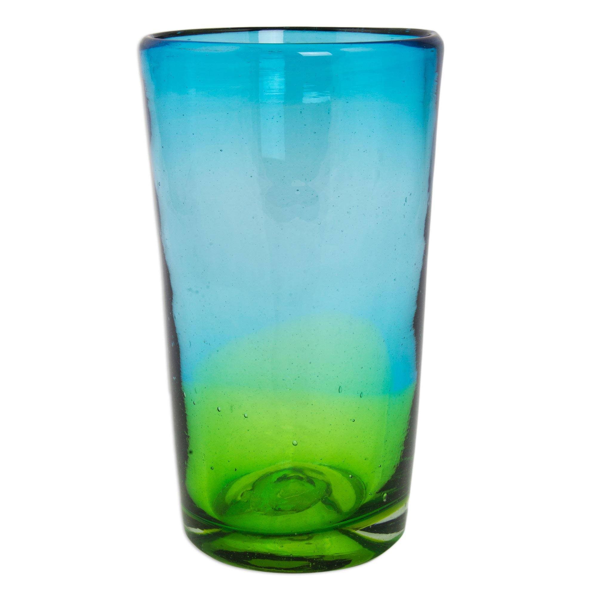 NOVICA Hand Blown Recycled Glass Blue and Green Ombre Highball Glasses, 15 oz, Aurora Tapatia' (set of 6) by NOVICA (Image #3)