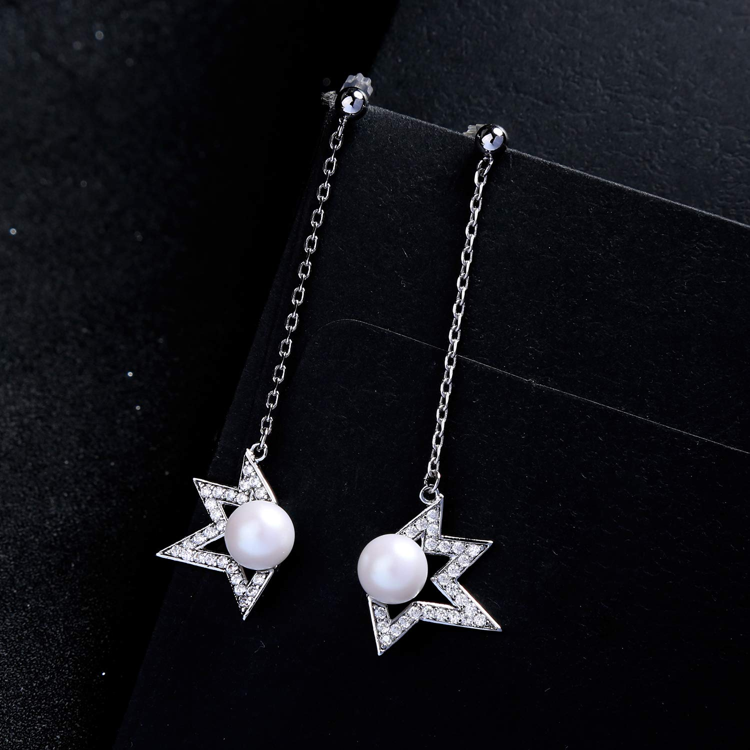 Miss Kiss Statement Hypoallergenic 925 Stearling Silver CZ Cubic Zirconia Acrylic Pearl Dangle Drop Star Earrings for Women and Girls Wedding Jewelry Gift ME0082