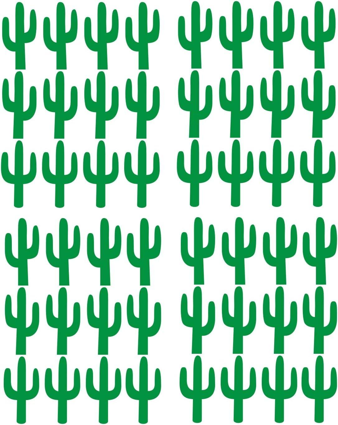 JOYRESIDE 48 Pieces/Set Cactus Decals Wall Vinyl Sticker Home House Nursery Desin Cacti for Baby Kids Boy Girl Bedroom Living Room Decoration Art Decor YMX20 (Green)
