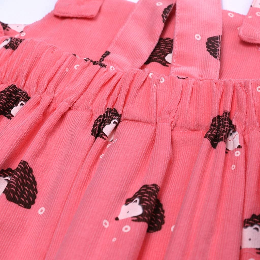 BSGSH Toddler Baby Girl Dress Hedgehog Printed Strap Skirt Overall Outfits Clothes