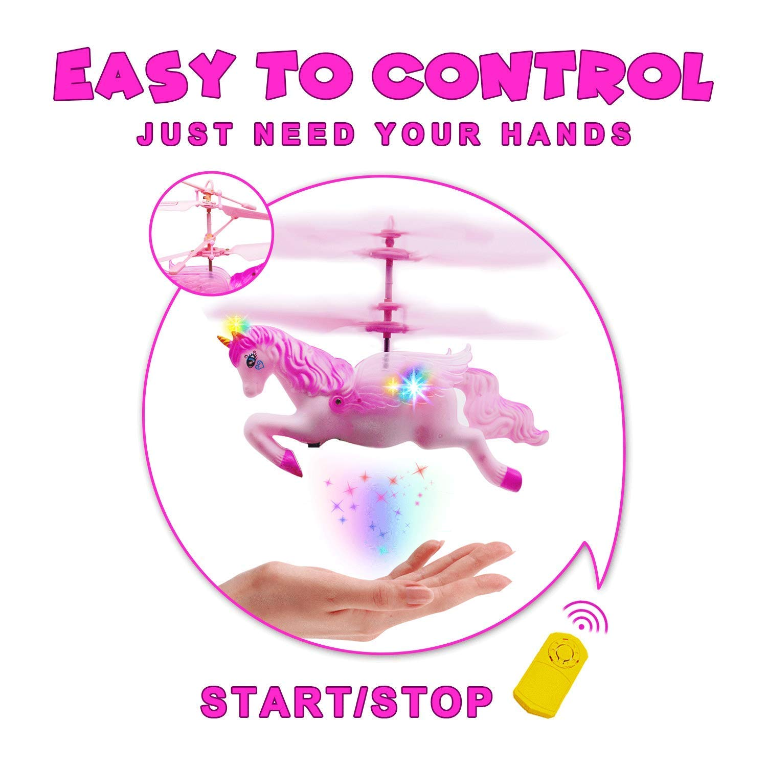 Flying Ball RC Unicorn Toys, Mini RC Flying Helicopter Unicorn Toy Gifts Hand Control Drones for Kids Boys Girls Flying Fairy Unicorn Doll Hovering Aircraft Outdoor Flying Toys Games Birthday Gift by Synmila (Image #3)