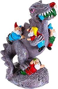 Dinosaur Eating Gnomes, Cartoon Gnomes Statue, Outdoor Garden Sculpture, Art Decorations, Creative Photo Props for Indoor Outdoor
