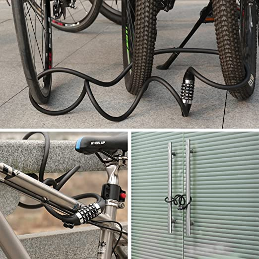 ideale per bicicletta tosaerba e altre attrezzature per tutti i tipi di biciclette. skateboard Lucchetto per bicicletta antifurto con 5 cifre che pu/ò essere riavviato e cavo a spirale 1,2 m x 12 mm