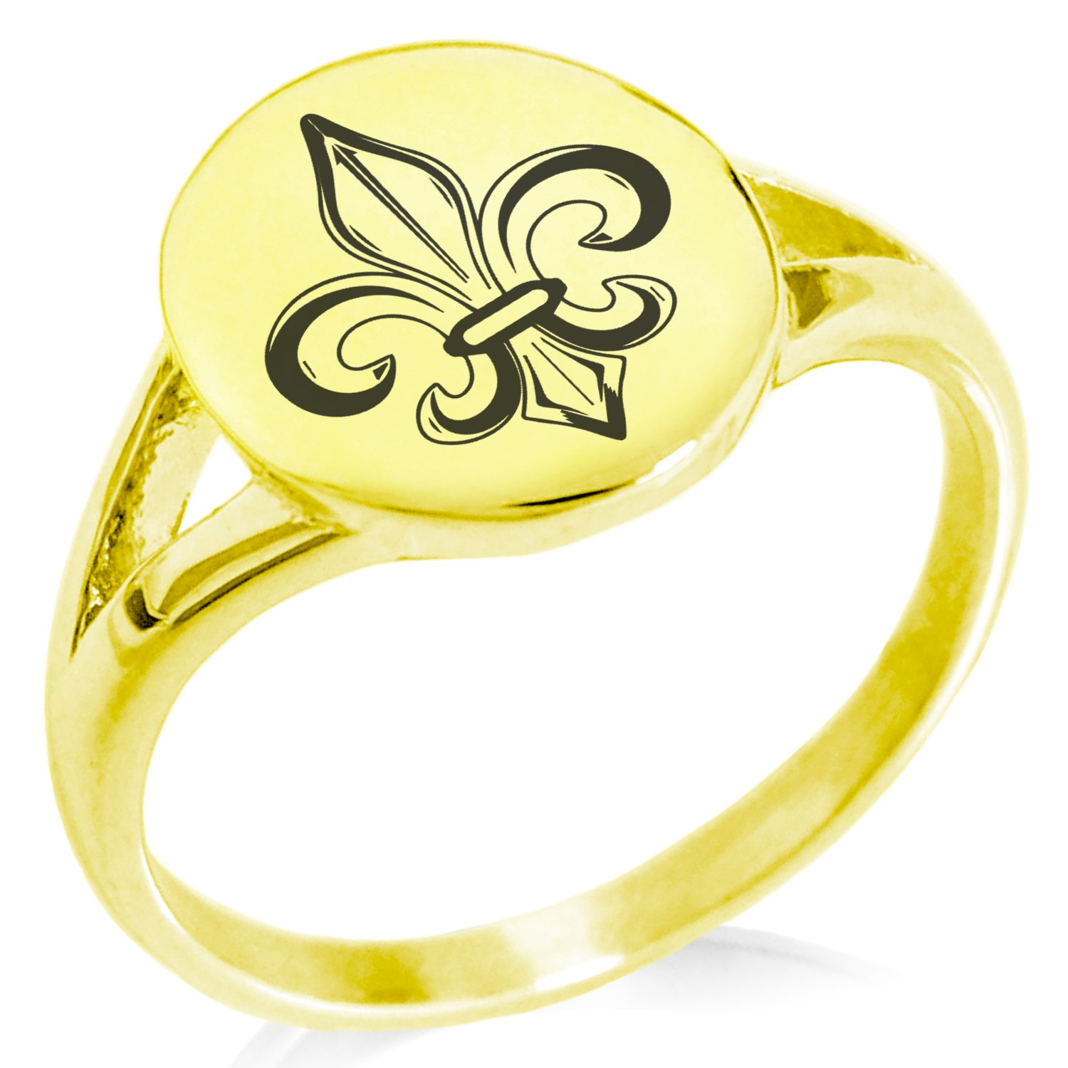 Tioneer Stainless Steel Valorous Fleur De Lis Symbol Minimalist Oval Top Polished Statement Ring