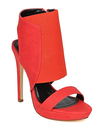 aa82649cc0b Liliana CE31 Women Snake Leatherette Open Toe Extended Elastic Stiletto  Sandal - Red Leatherette